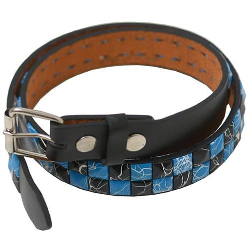"Girls Blue Black Spotted Pyramid Rows Single Prong Belt S-XL (20.5-35"")"