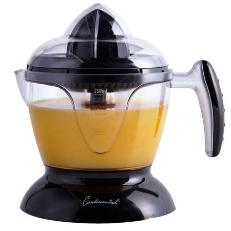 Continental Electric CE22261 CE22261 Electric Citrus Juicer, 24 Ounce (750 ml) Capacity, Dust Cover, Clear Juice Window, Clean Cord Warp, Black 8.6 x 7.9 x 6.1