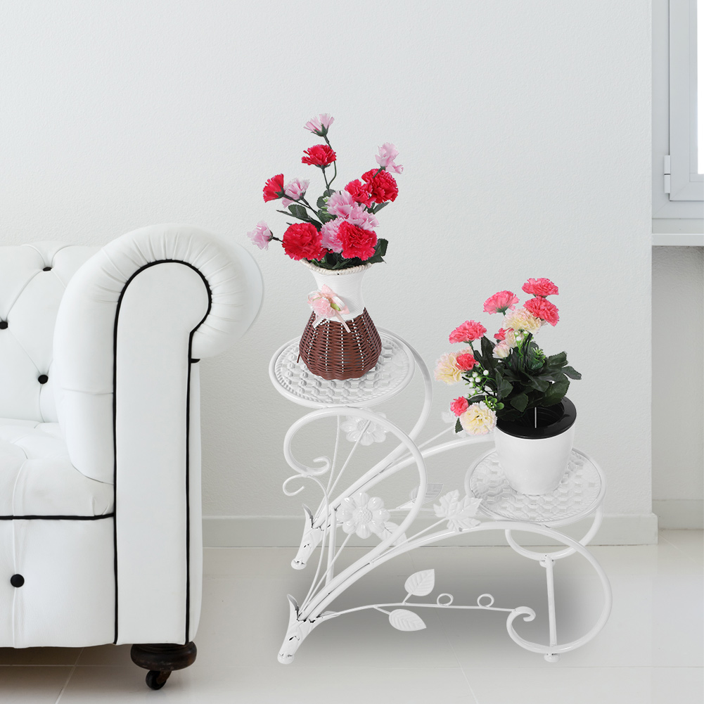 Yosoo 2 Tiers Iron Floor Standing Plant Display Stand Flower Pot