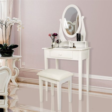 Vanity Set with Mirror & Cushioned Stool Makeup Dressing Table Vanity Set, White (Round Mirror 3 Organization