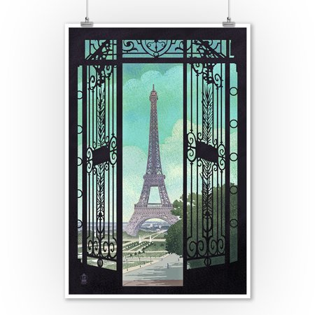 Paris, France - Eiffel Tower & Gate Lithograph Style - Lantern Press Artwork (9x12 Art Print, Wall Decor Travel Poster)