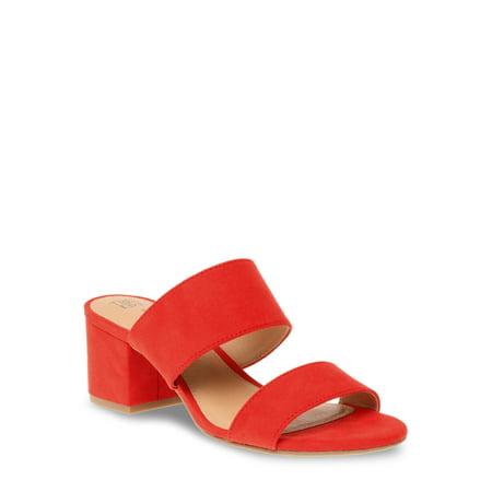 Women's Time and Tru Block Heel Mule Sandal Nylon Vintage Heels