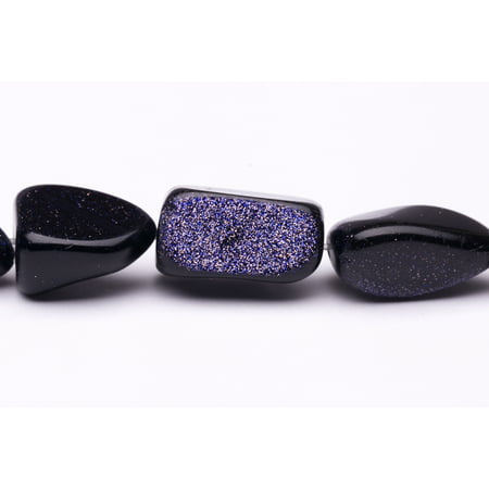 Goldstone Gemstone Beads - Natural Form Nugget Blue Goldstone Beads Semi Precious Gemstones Size: 17x14mm Crystal Energy Stone Healing Power for Jewelry Making