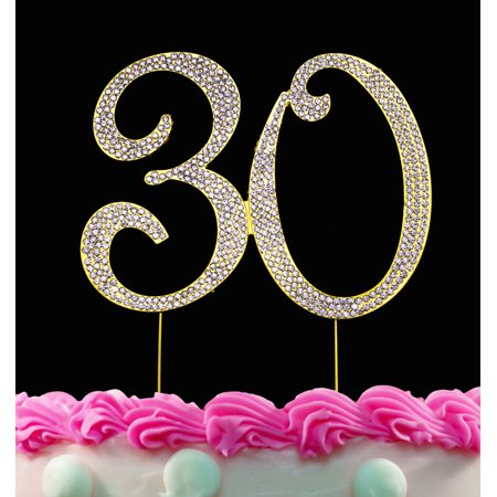 30th Birthday Cake Toppers Gold Bling Crystal Topper 30 Anniversary Cake Toppers](30th Birthday Cake Toppers)