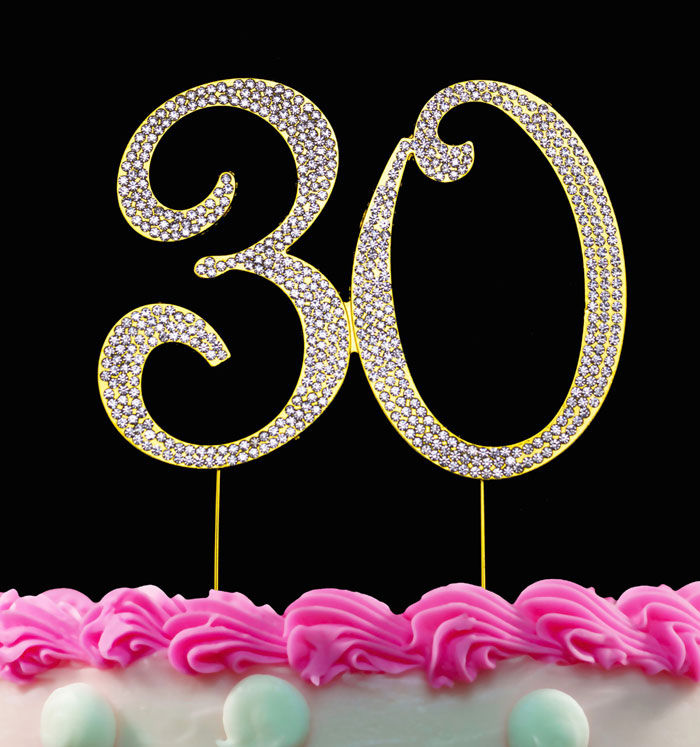 30th Birthday Cake Toppers Gold Bling Crystal Topper 30 Anniversary Cake Toppers