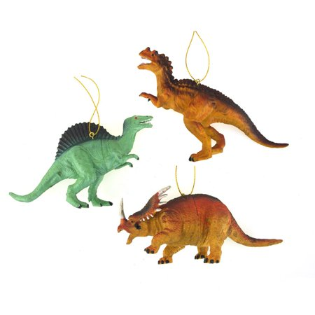 Plastic Dinosaur Ornaments, 4-Inches, 3-piece - Dinosaur Ornament