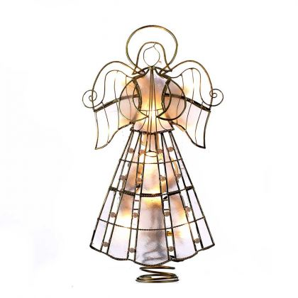 Kurt Adler 10-Light 9.75-Inch Capiz Angel Treetop with Scroll Design and Pearls