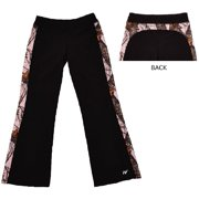Womens Active Pants Black with Pink Mossy Oak Camo Trim ? Small