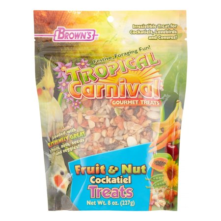Brown's Tropical Carnival Fruit & Nut Cockatiel Bird Treats, 8 Oz