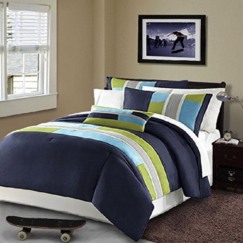 Modern Teen Bedding Boys Kids 3 Piece Comforter Set Navy Blue Teal Light Green Stripes... by