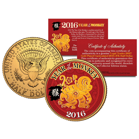 2016 Chinese New Year YEAR OF THE MONKEY 24K Gold Plated JFK Half Dollar US Coin - Chinese New Year Coins