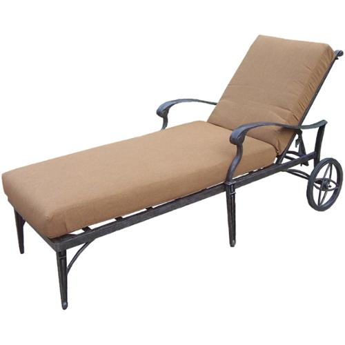 Oakland Living Corporation Plymouth Sunbrella Aluminum Chaise Lounge On Wheels