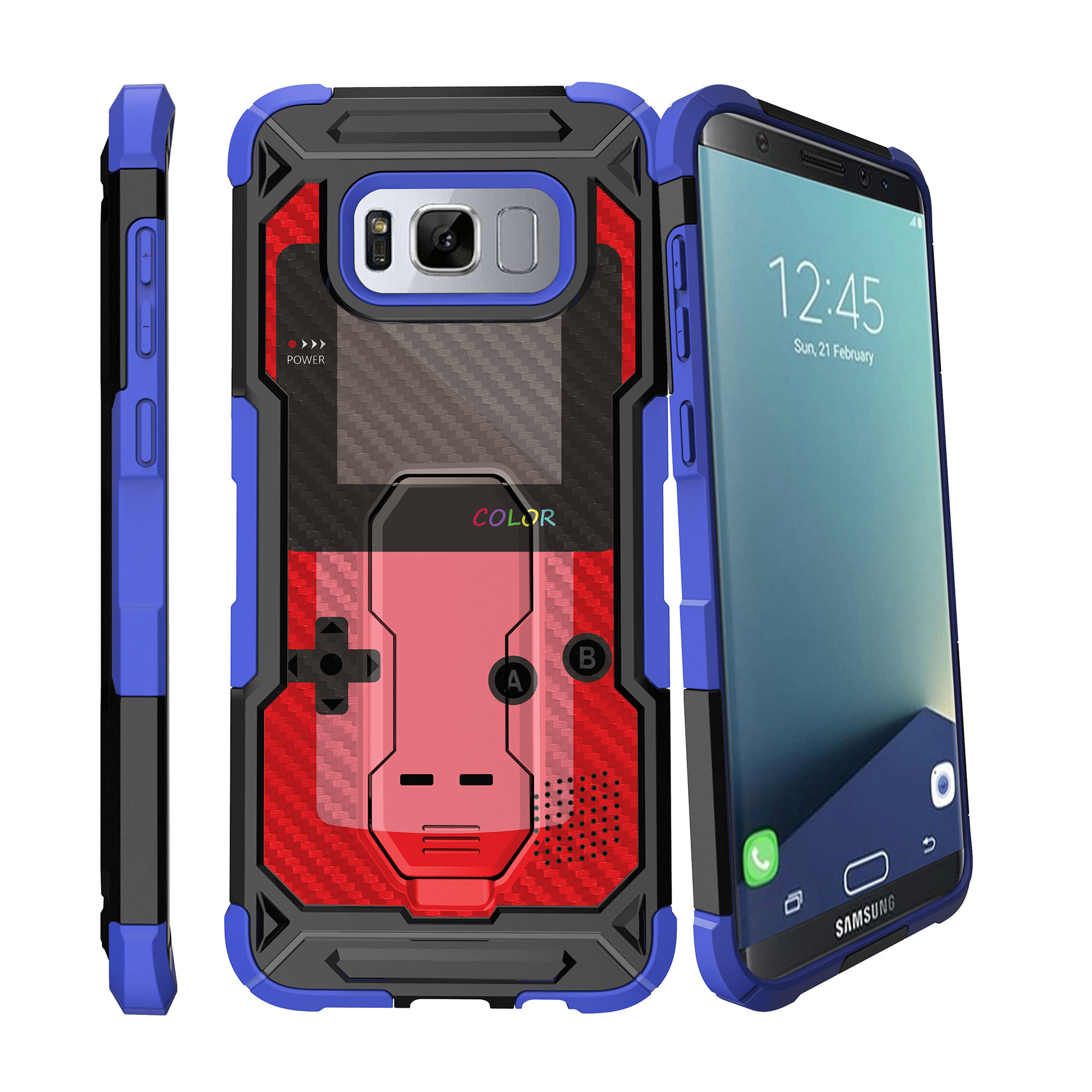 Case for Samsung Galaxy S8 Plus Version [ UFO Defense Case ][Galaxy S8 PLUS SM-G955][Blue Silicone] Carbon Fiber Texture Case with Holster + Stand Gaming Collection