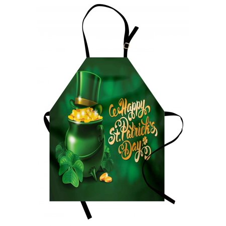 St. Patrick's Day Apron Large Pot of Gold Leprechaun Hat and Shamrocks Greetings 17th March, Unisex Kitchen Bib Apron with Adjustable Neck for Cooking Baking Gardening, Gold and Emerald, by Ambesonne
