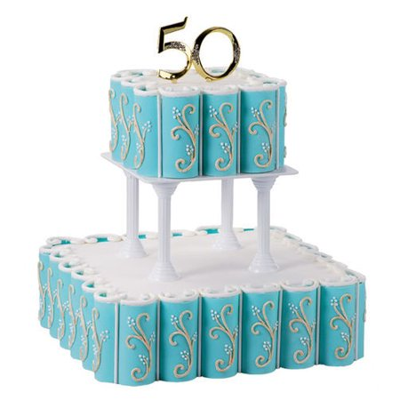 Wilton 50th Anniversary Cake Picks, Gold, 1 Ct