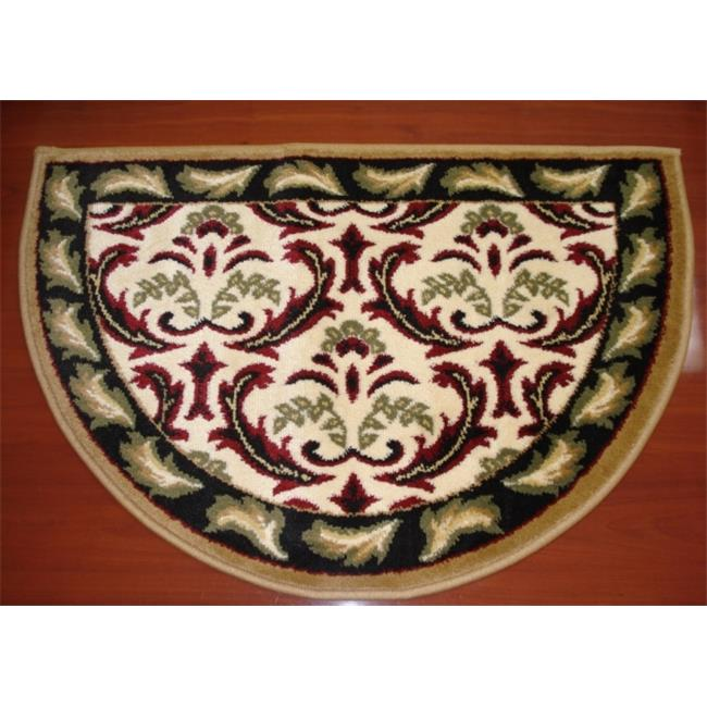 IMS 28625618652640 Hearth Rug Floral Design Lodge Cabin Fireplace, Beige  Red   2 X 3