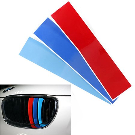 Car Vinyl Front Kidney Grille M Color Sport Stripe Sticker Decal For  M3 E39 E46 E90 X3 X5 X6 1 3 5 6 Series Self-adhesive Waterproof US