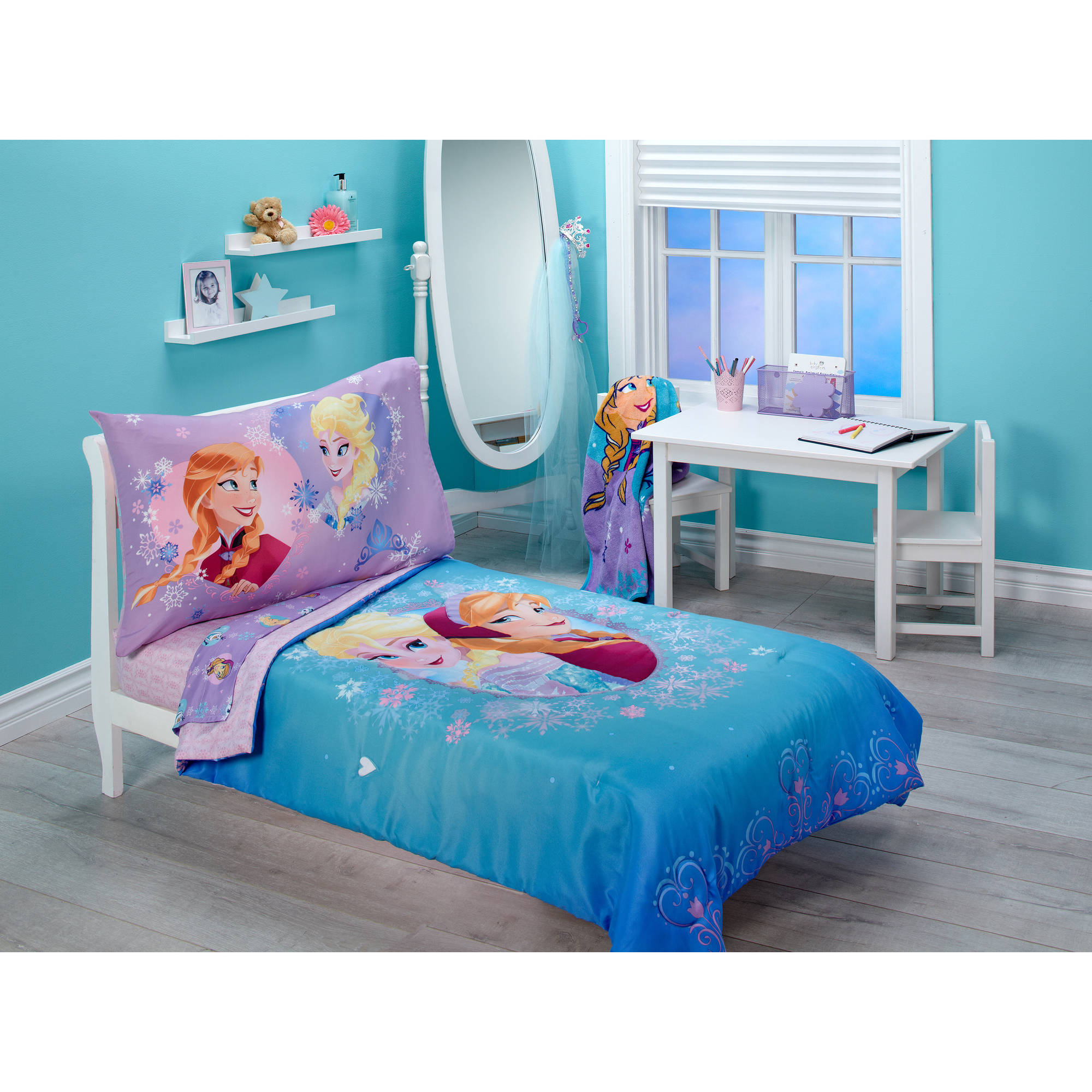 Crown Crafts Infant Products Inc Frozen Magical Sisters 3 - Piece Toddler Bedding Set with BONUS Matching Pillow Case