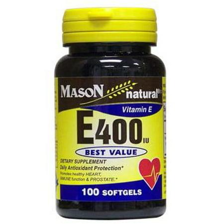 Mason Vitamins Natural Vitamin E 400 IU Softgels, 100 Ct ()