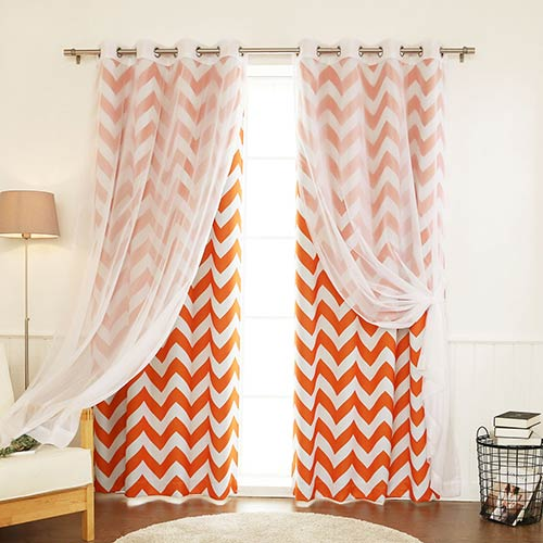 Orange Chevron 52 x 84 In. Window Treatments, Set of Four by