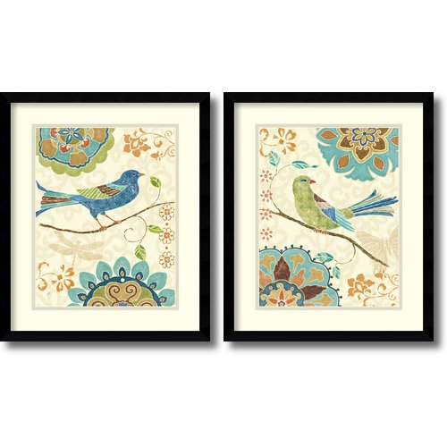 Amanti Art 'Eastern Tales Birds' by Daphne Brissonnet 2 Piece Framed Painting Print Set