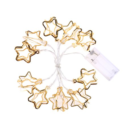 Joyfeel Cute Hollow Star Shape 10LED Lights Party Battery Operated String LED Lights Decoration Christmas Wedding Home Indoor](Cute String Lights)
