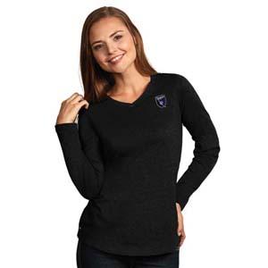 San Jose Earthquake Womens Flip V-Neck L/S T-Shirt (Color: Black)