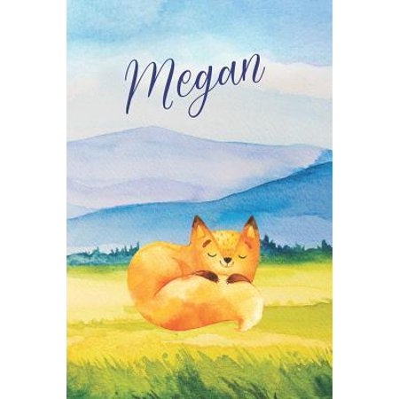 Megan : Personalized Name and Fox in the Forest and Mountains on Cover, Lined Paper Note Book For Girls or Boys To Draw, Sketch & Crayon or Color (Kids Teens and Adult Journal