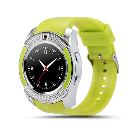 TechComm V8 Bluetooth and GSM Unlocked Smartwatch with Fitness Tracker,  Sleep Monitor, Bluetooth Music Playing, Sports Pedometer, and Built-in 0 3  MP