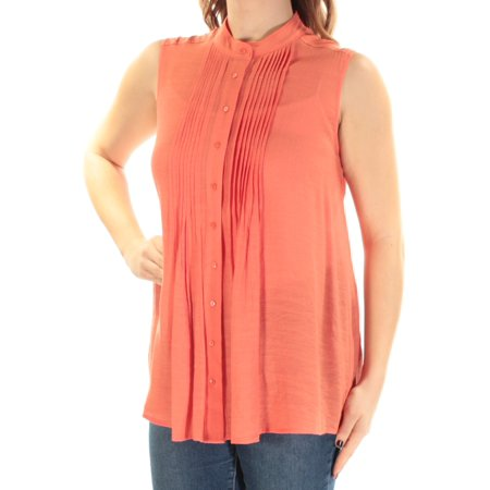 Ladies Coral (ALFANI Womens Coral Pleated Sleeveless Mandarin Collar Button Up Top  Size: 10 )