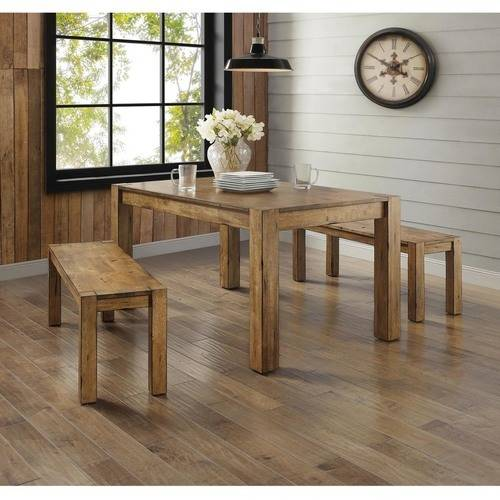 Better Homes and Gardens Bryant 3-Piece Dining Set, Rustic Wood Rustic Brown Leather 3 Piece