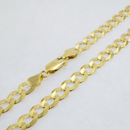 10k Yellow Gold Solid 8mm Cuban Curb Link Chain Pendant Necklace, 20