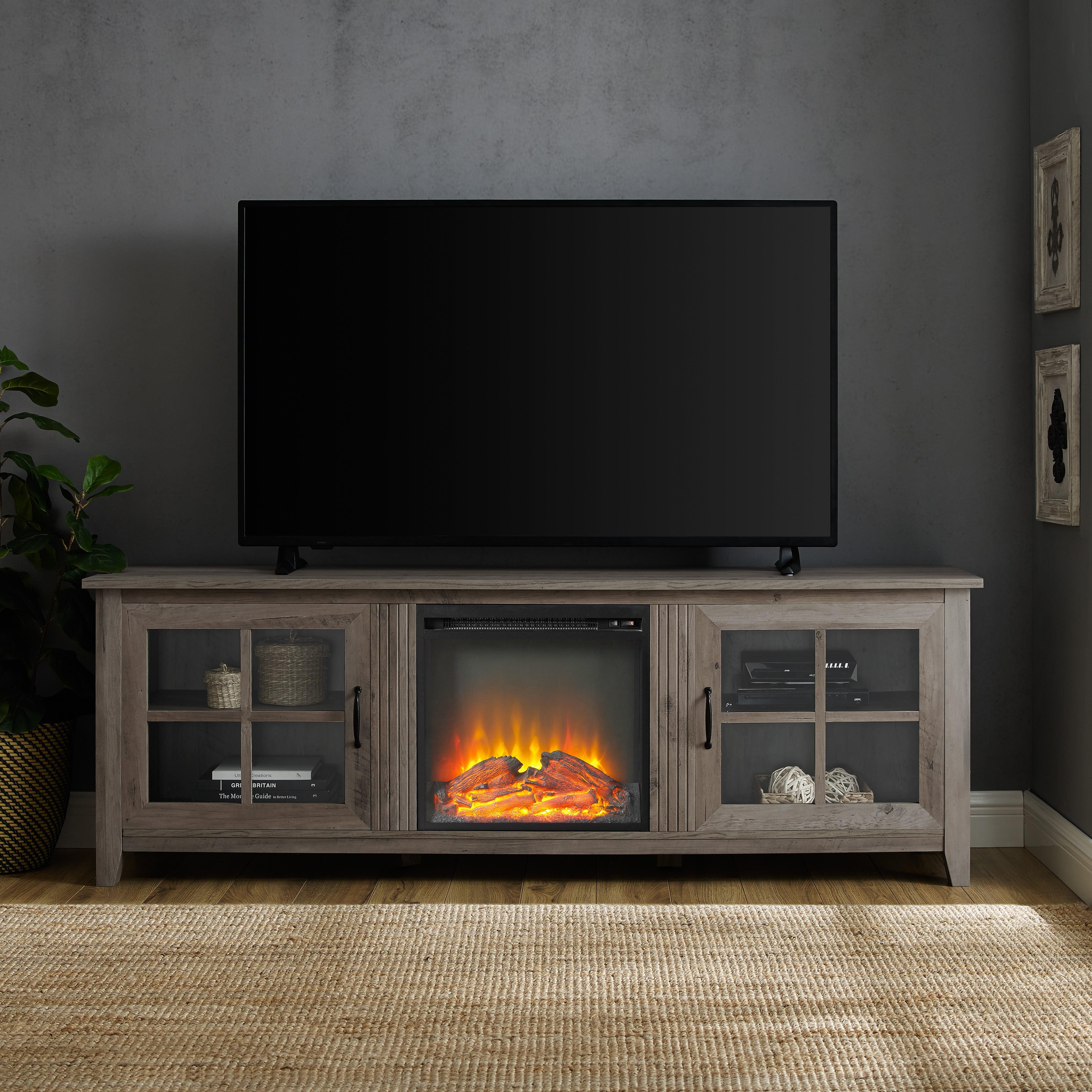 "Manor Park 70"" Modern Farmhouse Fireplace TV Stand - Grey Wash"