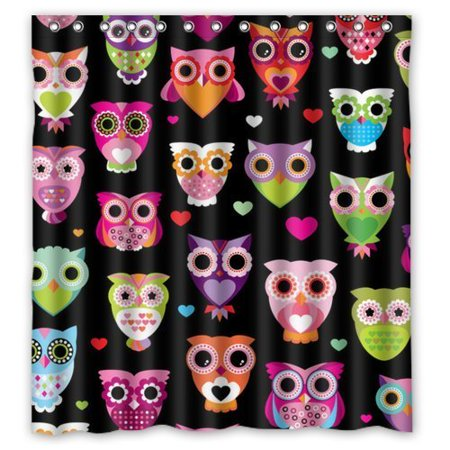 GreenDecor Owl Cuteness Colorful Bird Parade Waterproof Shower Curtain Set with Hooks Bathroom Accessories Size 60x72 inches ()