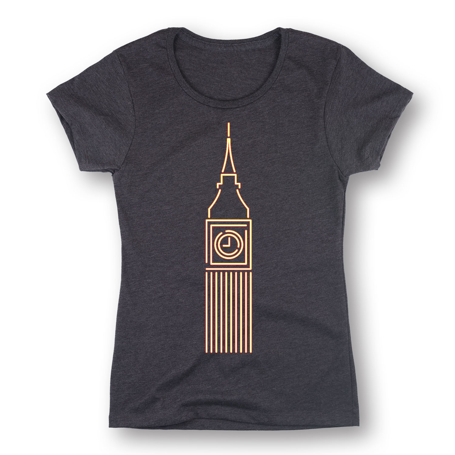 Neon Sign Style Big Ben, London England Fashion Tee Urban Style Womens T-Shirt