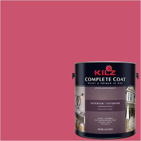 Kilz complete coat interior exterior paint primer in one lh140 ibis pink 1 gal flat for Best interior paint and primer in one