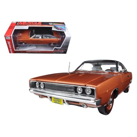 "1968 Dodge Charger R/T Bronze Poly with Black Vinyl Top ""Hemmings Muscle Magazine\"" Limited Edition to 1002pc 1/18 Diecast Model Car by Autoworld - image 1 de 1"