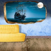 Startonight 3D Mural Wall Art Photo Decor Moon and Ship Amazing Dual View Surprise Medium Wall Mural Wallpaper for Bedroom Beach Collection Wall Paper Art 47.24 By 86.61 inch