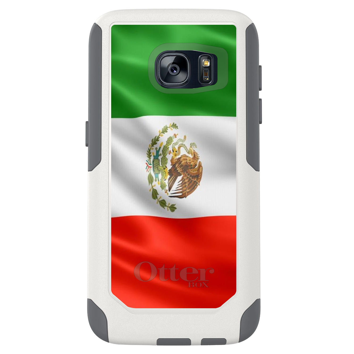 DistinctInk™ Custom White OtterBox Commuter Series Case for Samsung Galaxy S7 - Red White Green Mexican Flag Mexico