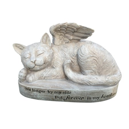 Cat Angel Memorial Statue – Garden Marker - Sleeping Cat Angel - Devotional Pet Remembrance Stone - for Indoor or Outdoor Use - from Clovers Garden