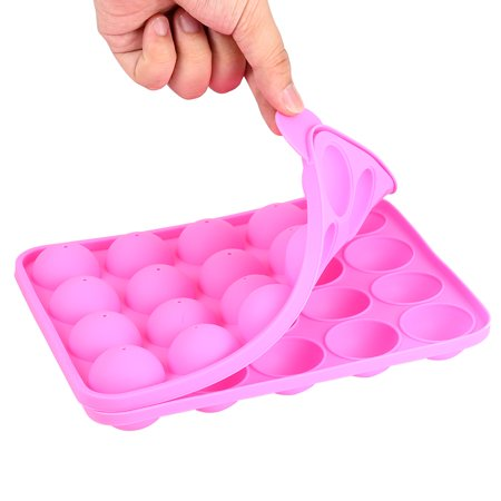 Cupcake Lollipop Mold - GlowSol 20 Silicone Tray Pop Cake Stick Mould Lollipop Party Cupcake Baking Mold (Pink)