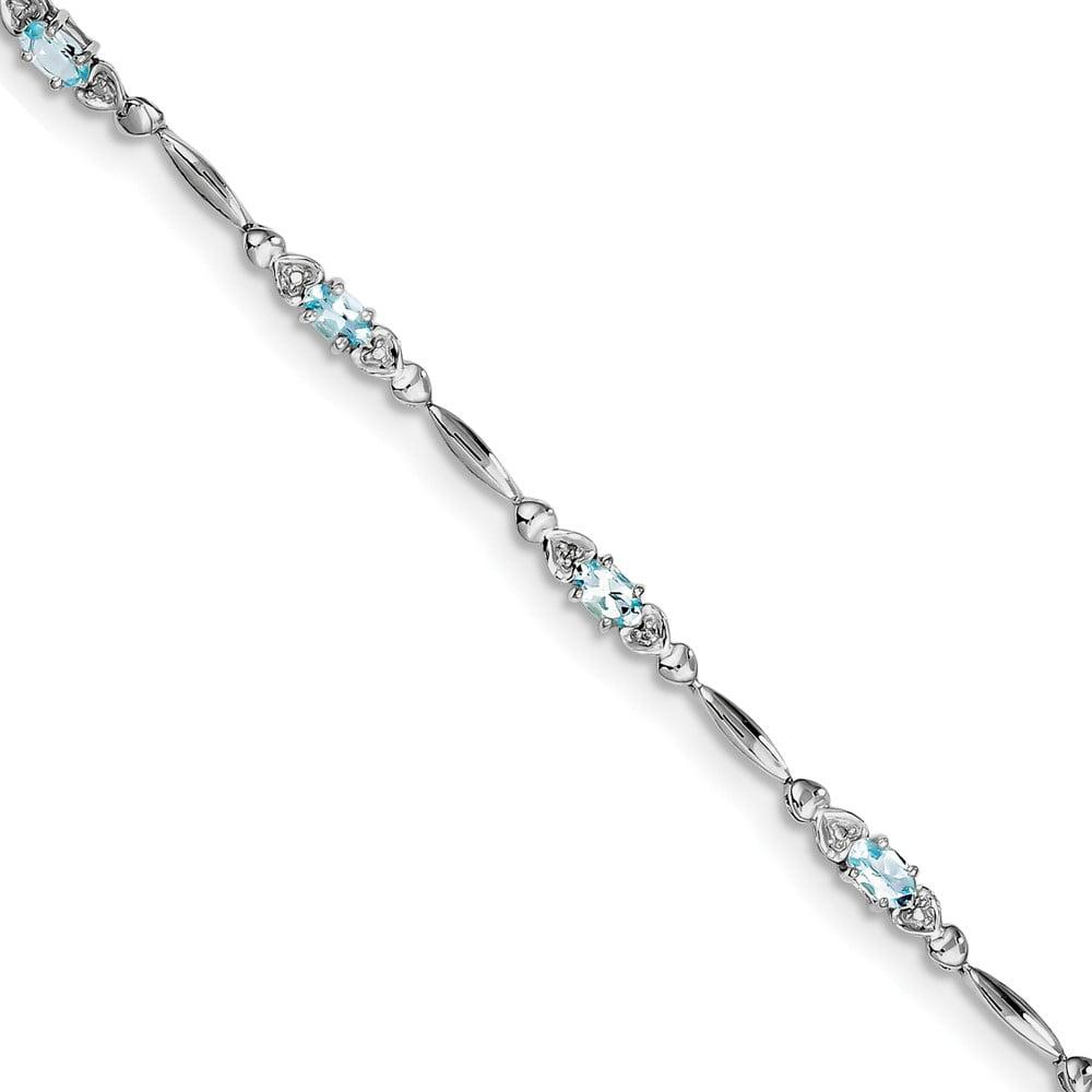925 Sterling Silver Rhodium-plated Aquamarine and Diamond Bracelet by Diamond2Deal