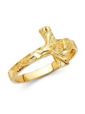 97a2b88eb767 Product Image Solid 14k Yellow Gold Jesus Crucifix Ring Religious Cross  Charm Diamond Cut Style Polished 13MM