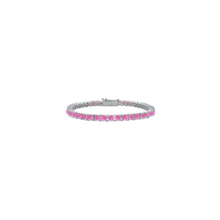 14k Pink Sapphire Bracelet - Created Pink Sapphire Tennis Bracelet 14K White Gold 7.00 CT TGW