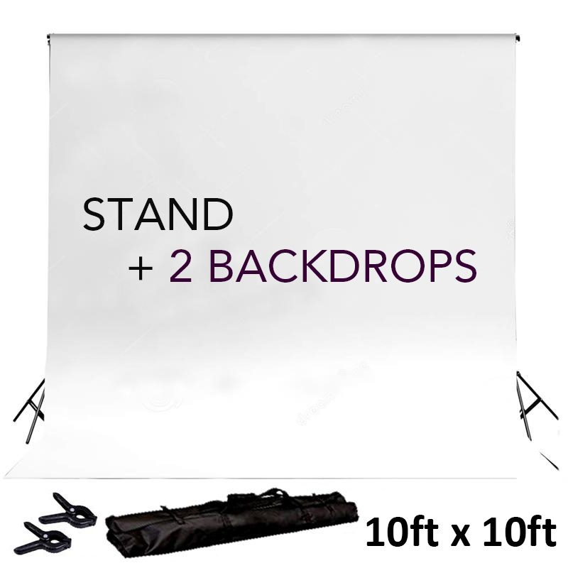 BalsaCircle Black 8 ft x 10 ft Photo Backdrop Stand Kit + 2 Free Backdrops - Studio Background - Wedding Party Photo Booth
