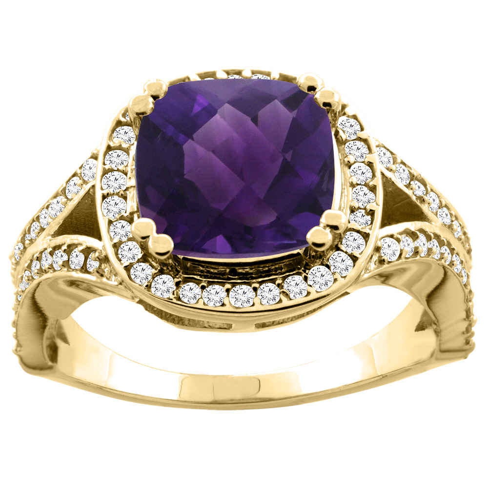 10K Yellow Gold Natural Amethyst Split Ring Cushion 8x8mm Diamond Accent, size 5 by Gabriella Gold