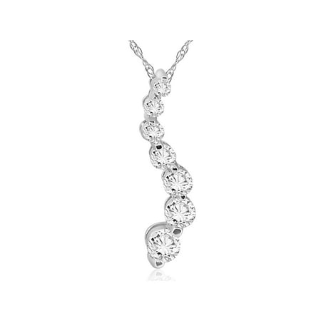 1/2ct Real Diamond Journey Pendant 14K White (14k White Gold Journey Pendant)