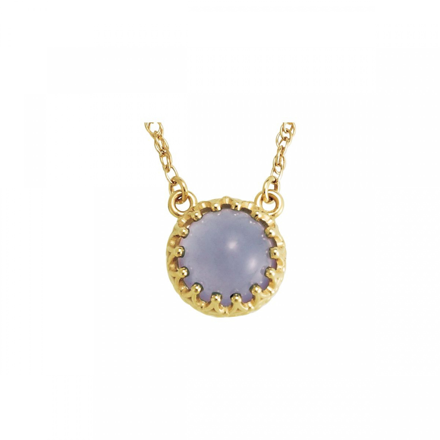 """14kt Yellow 8mm Round Blue Chalcedony 18"""""""" Necklace 28344   14Kt Yellow   Complete With Stone   Blue... by Midwest Jewellery"""