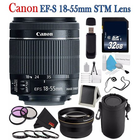 Canon EF-S 18-55mm f/3 5-5 6 IS STM Lens + 58mm 3 Piece Filter Kit + SD  Card USB Reader + 32GB SDHC Class 10 Memory Card + Deluxe Lens Pouch + 58mm  2x
