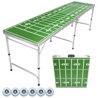 Football Field 8' Portable Folding Beer Pong/Flip Cup Table, 6 Balls Included